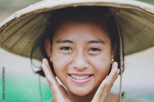 Fotografiet  Portrait of Asian Beautiful Burmese girl farmer in Myanmar