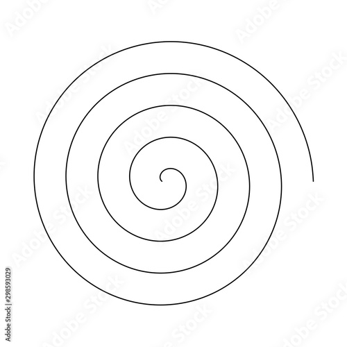 Obraz Line in circle form. Single thin line spiral goes to edge of canvas. Vector illustration - fototapety do salonu
