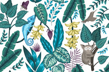 Vector Seamless Background With Tropical Plants, Insects And Animals. Exotic Jungle Repeating Pattern With Chameleon, Tarsier, Bird Of Paradise, Butterfly, Bananas..