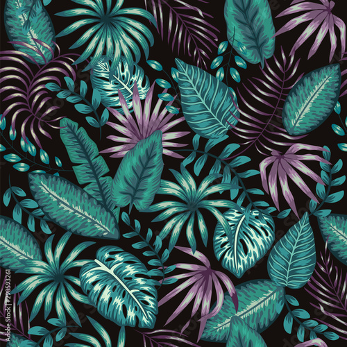 Vector seamless pattern of tropic green and purple foliage on black background. Summer or spring repeat vintage tropical backdrop with monstera, dieffenbachia, palm tree leaves. Exotic ornament. Wall mural
