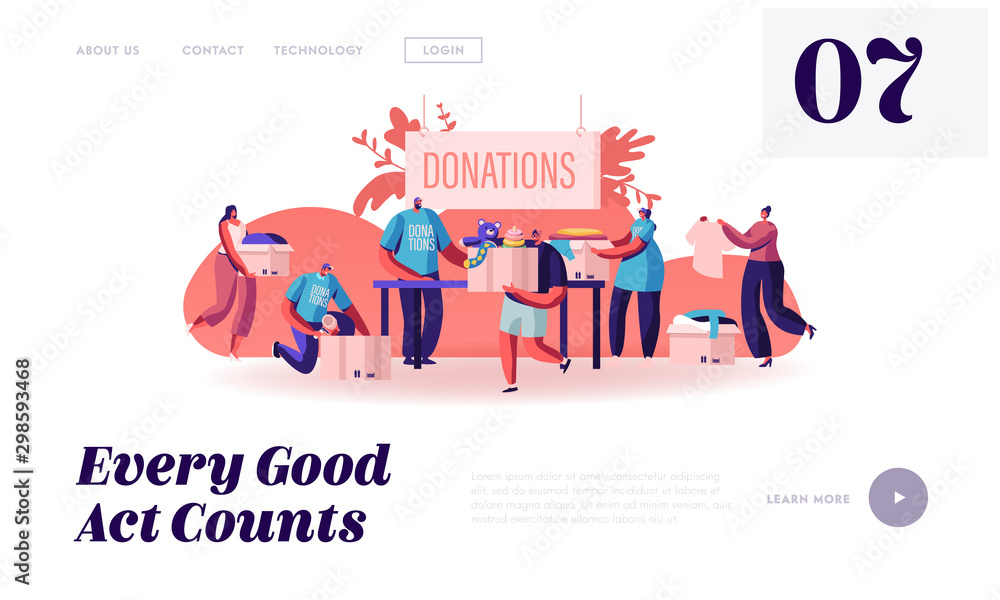 Fototapety, obrazy: Donation and Charity Website Landing Page. Male and Female Characters Bringing Boxes with Different Things and Clothes for Poor People in Troubles Web Page Banner. Cartoon Flat Vector Illustration