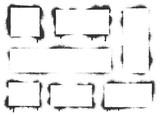 Fototapeta Młodzieżowe - Spray paint graffiti stencil frames. Black airbrushing paint banner, stenciling backdrop and spray paint texture borders. Brush splash abstract rectangular stencil border. Isolated vector icons set