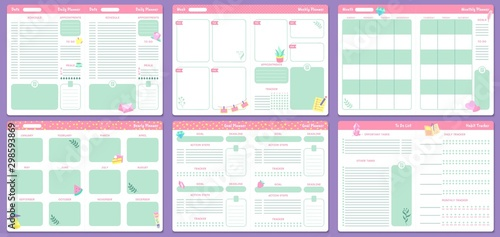 Funny planner templates. Daily, weekly, monthly and yearly planners pages. Goal planner and to do list, notebook with month calendar or 2020 memo planner. Isolated vector icons set - 298593869