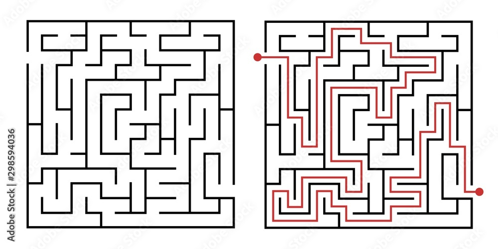 Fototapeta Labyrinth game way. Square maze, simple logic game with labyrinths way. How to find out quiz, finding exit path rebus or logic labyrinth challenge isolated vector illustration