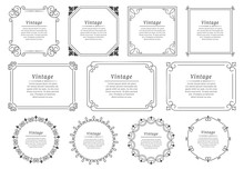 Royal Hand Drawn Text Frame. Retro Elegant Graphic Frame, Vintage Ornamental Border And Decorative Book Emblem. Birthday Or Wedding Victorian Invitation Divider. Certificate Isolated Vector Icons Set