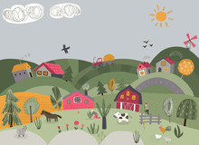 Vector Illustration Of Rural Landscape With Cute Hand Drawn Farm Animals, Trees, Country Houses, Tractor, Mill.