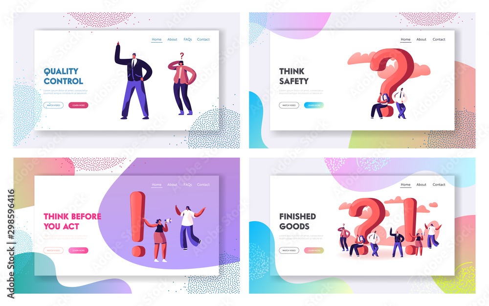 Fototapeta Question and Exclamation Marks Website Landing Page Set. People Having Doubts Solving Problems Searching Information and Creative Ideas, FAQ Helpdesk Web Page Banner. Cartoon Flat Vector Illustration