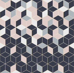 Fototapeta Wzory geometryczne Vector seamless hexagon background. Geometric pattern grid with gold lines