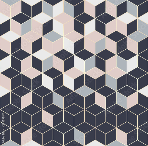 Vector seamless hexagon background. Geometric pattern grid with gold lines