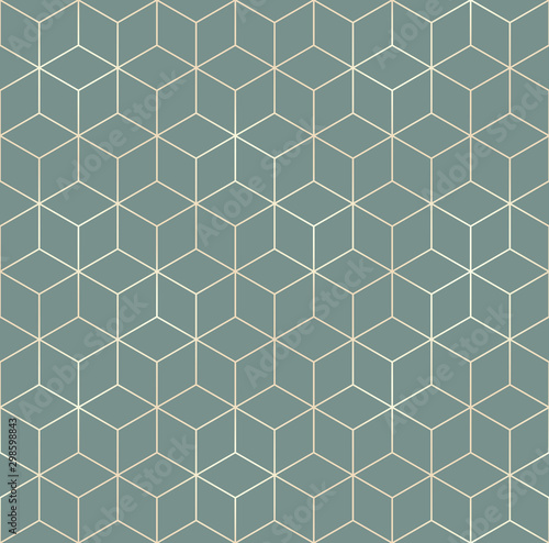 Canvas Prints Geometric Vector seamless hexagon background. Geometric pattern grid with gold lines