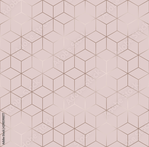 Canvas Prints Geometric Vector seamless hexagon background. Geometric pattern grid with rose gold lines