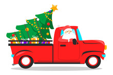 Christmas Red Truck And Tree. Greeting Card, December Holiday