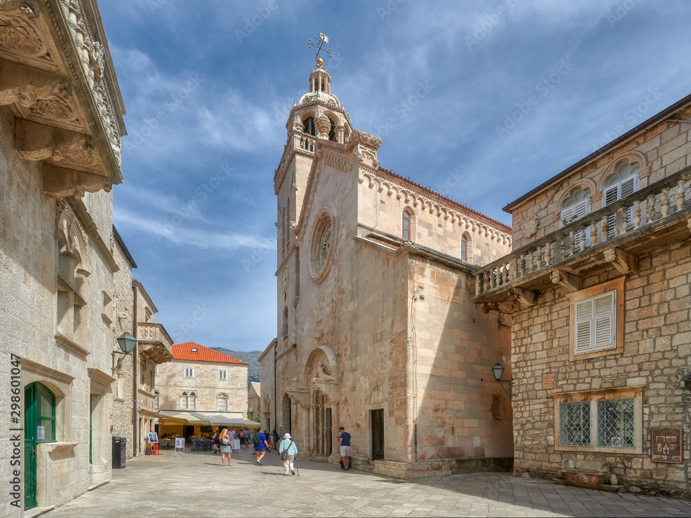 Croatia, the town of Korcula - on the right the house of Marco Polo, the famous traveler