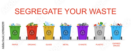 Fényképezés  Segregate your waste vector isolated. Container in a row