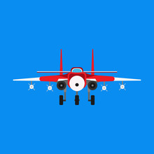 Fighter Aircraft Vector Icon M...