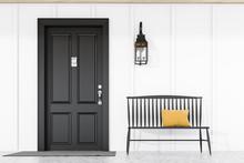 Black Front Door Of White Hous...