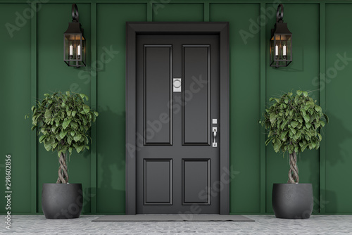 Cuadros en Lienzo  Black front door of green house with trees