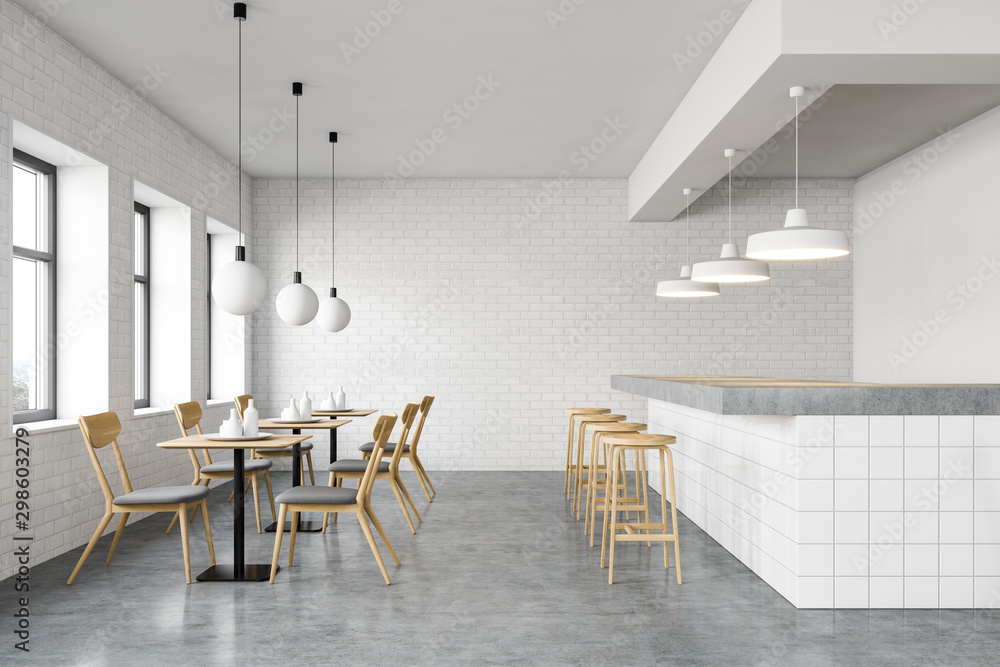 Fototapety, obrazy: Interior of stylish cafe with long bar stand