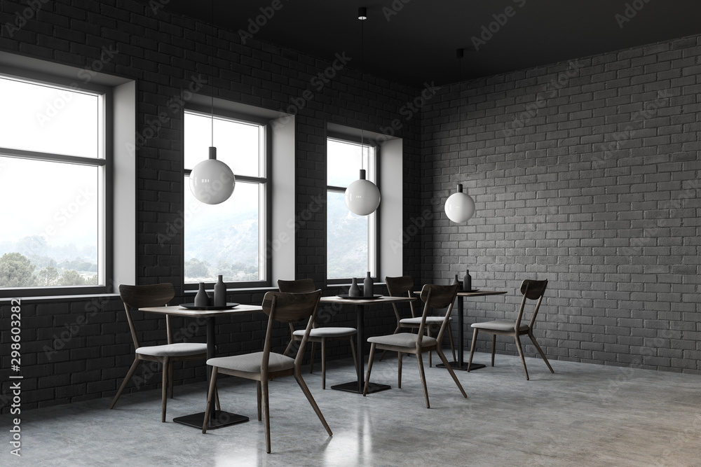 Fototapety, obrazy: Loft restaurant corner with square tables