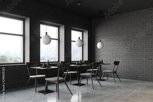 Loft restaurant corner with square tables