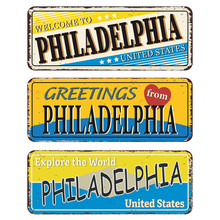 Philadelphia Vintage Tin Sign Collection With USA City Name. Retro Souvenir Sign Or Postcard Templates On Old Metal Background. Traveling Theme.