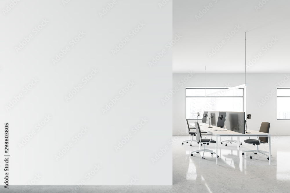 Fototapety, obrazy: Modern open space office with mock up wall