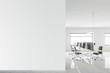 Leinwanddruck Bild - Modern open space office with mock up wall
