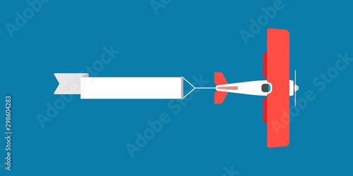 Fotografia, Obraz Red biplane with air ribbon banner vector illustration