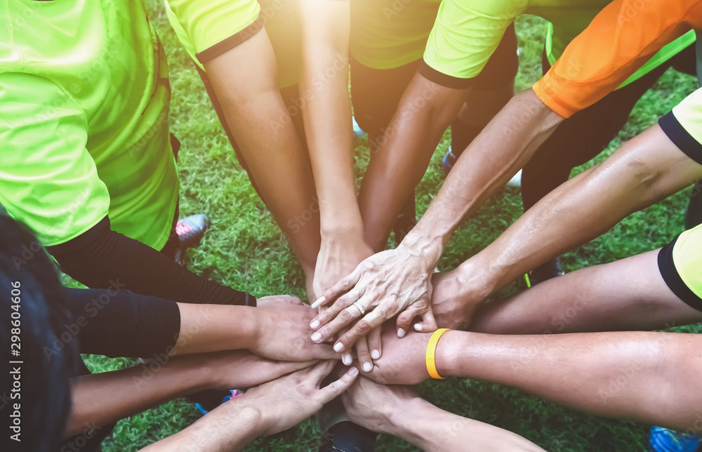 Fototapeta Teamwork Join Hands Support Together Concept. Sports People Joining Hands