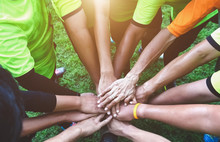Teamwork Join Hands Support Together Concept. Sports People Joining Hands