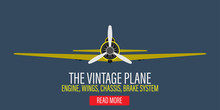 Vintage Plane Engine Vector Illustration Background. Retro Yellow Aircraft Propeller Flight Adventure Biplane. Classic Flat Art Banner Flyer Machine