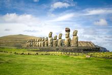 Moai Statues On Rapa Nui, East...