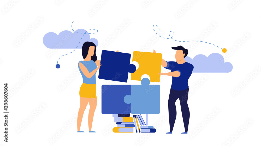 Fototapeta Puzzle teamwork man and woman business partnership communication. People work with books vector concept illustration. Together create piece jigsaw solution. Cooperation office human idea. Planning job