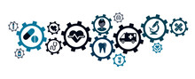 Icons For Concepts Of Compliance, Interoperability And Medical Mission. Compliance And Cooperation Policy.
