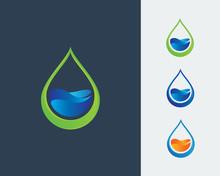 Ecology Logo, Water Drop Logo, Water Drop Design Template Vector Illustration