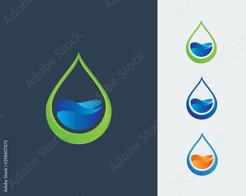 Stampa su Tela Ecology logo, Water Drop Logo, Water Drop Design Template vector illustration