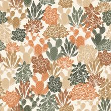 Various Cactus Seamless Pattern. Succulent Background. Neutral Color. Floral Design. Vector Illustration