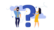 Person People Question Mark Answer Vector Illustration Concept Action. Advice Ask Business Cartoon FAQ Help Man And Woman Background. Problem Idea Confusion Human. Think Banner Support Conversation