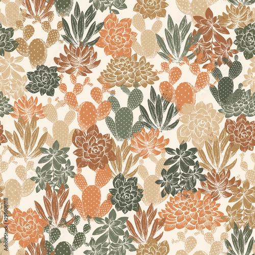 Fotomural Various cactus seamless pattern