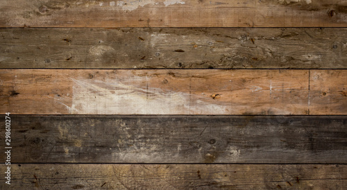 texture of old wood planks wall - 298610274