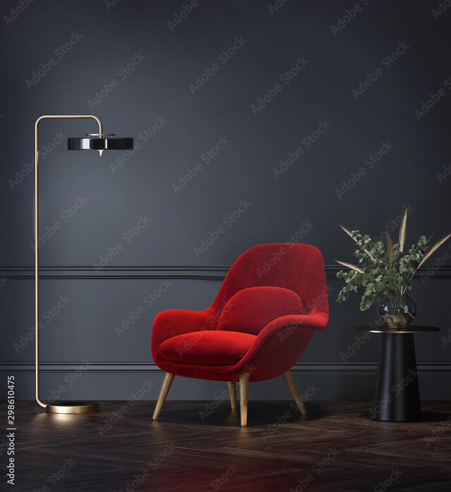 Fototapety, obrazy: Dark grey interior with velvet red lounge chair