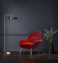 Dark Grey Interior With Velvet Red Lounge Chair