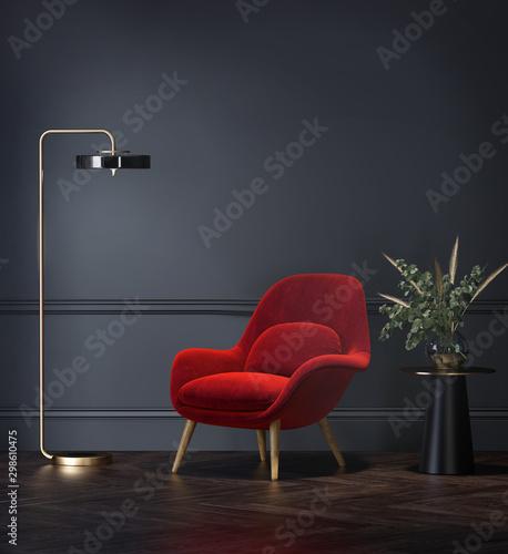 Obraz Dark grey interior with velvet red lounge chair - fototapety do salonu
