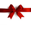 canvas print picture Red gift bow on white