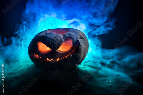 Photo Stands Amsterdam Halloween pumpkin. Traditional holiday decoration. Useful as greeting card