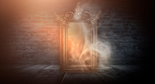 Dark Room, A Magical Antique Mirror. Night View Of The Room, Fantasy. Dark Abstract Background With A Mirror. Neon Light, Smoke, Smog, Magic Dust.