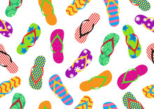 Seamless Pattern Of Colorful Flip Flops Set Isolated On White Background - Vector Illustration