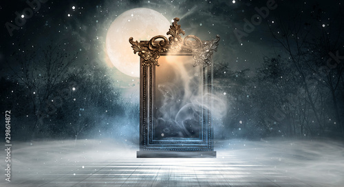Foto auf Leinwand Dunkelgrau Dark fantasy landscape. Dark forest, magic mirror. Dark scene of a night landscape with a split glass. Night view, smoke, smog, neon light, moon.