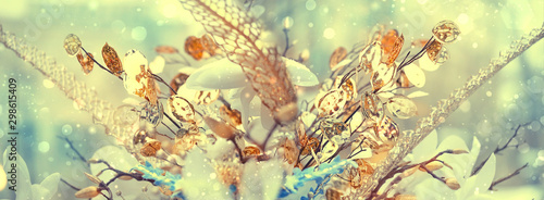 Autocollant pour porte Fleur unusual beautiful floral blurred background. chic golden flowers and elegant grass decor. festive decoration Christmas and new year holiday background. Artistic glamorous winter christmas image.