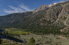 Scenic View Of Lee Vining Creek Valley In Western Sierra Nevada From Tioga Road (Mono County, California)